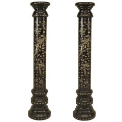 Pair of 19th c. Mother of Pearl Inlaid Chinese Pedestals