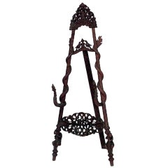19th c. Burmese Style Carved Rosewood Easel