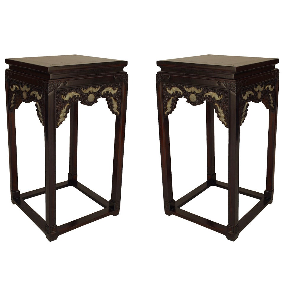Pair of Early 19th Century Chinese Inset Jade Pedestal Stands