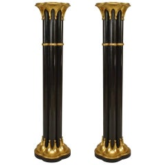 Pair of Gothic Revival Gold and Black Pedestals