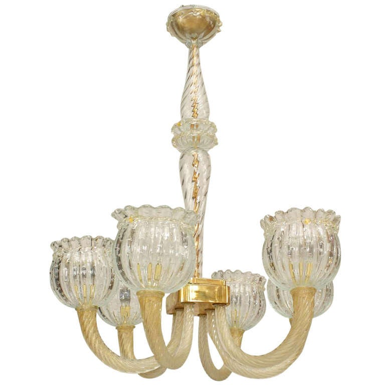 1940's Gold-Dusted Murano Chandelier Attributed to Barovier e Toso