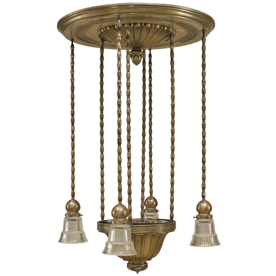 American Art Deco Silver Plate and Mercury Glass Chandelier