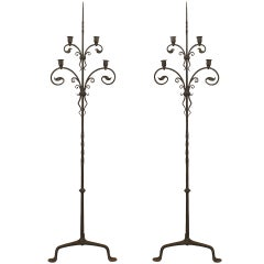 Pair of Samuel Yellin Attributed Wrought Iron Candle Stands c.1910