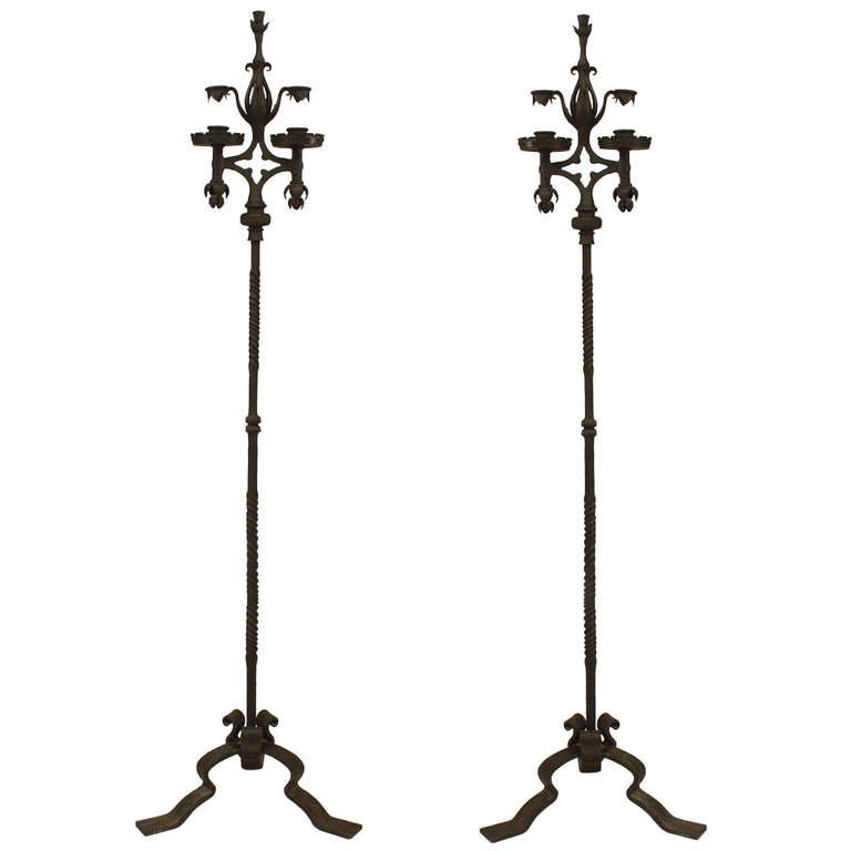 Pair of French Wrought Iron Candle Stands
