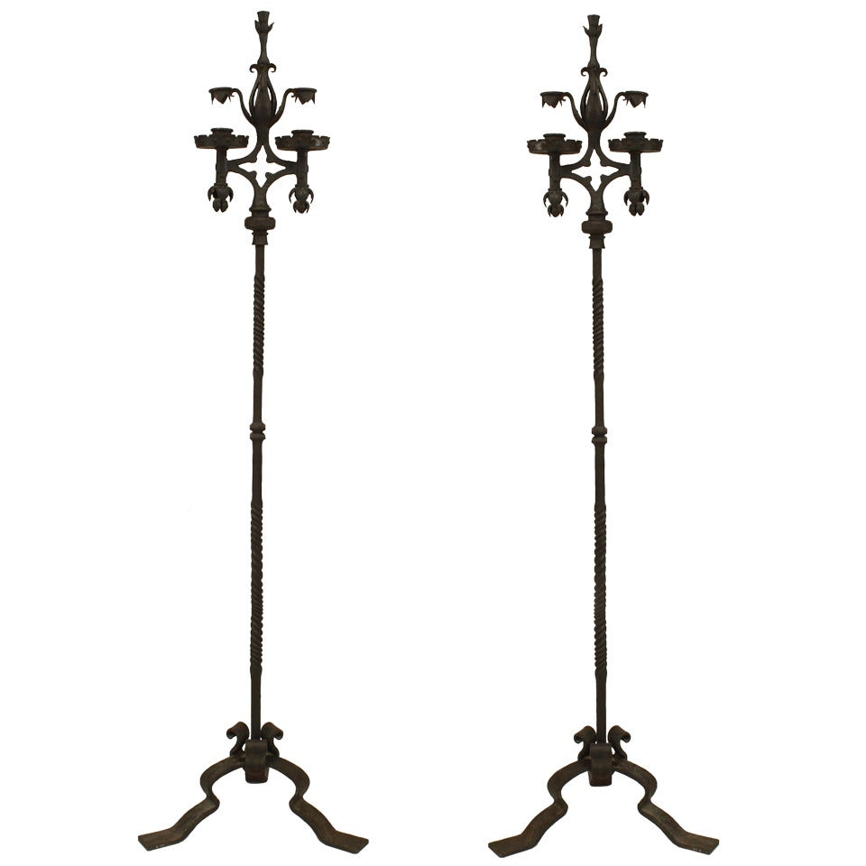 Pair of French Victorian Wrought Iron Candle Stands
