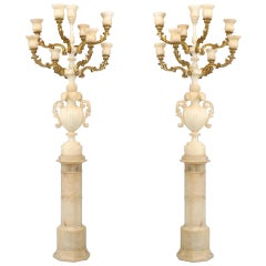 Pair of Monumental Italian Gilt Wood and Alabaster Torchieres