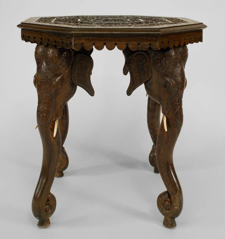 Burmese Carved Side Table With Elephant Form Legs 3