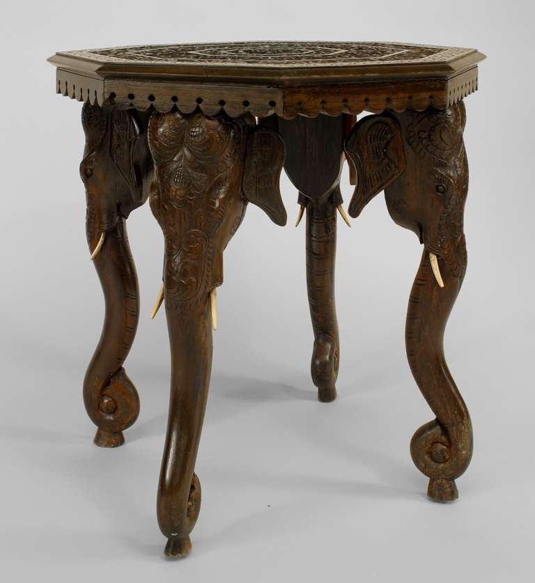 Burmese Carved Side Table With Elephant Form Legs For Sale