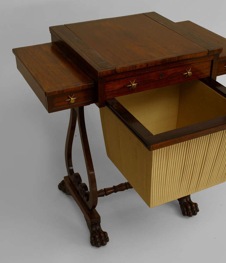 English Regency Rosewood Work Table For Sale at 1stdibs