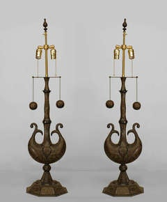 Pair of Incised Brass Moorish Style Table Lamps