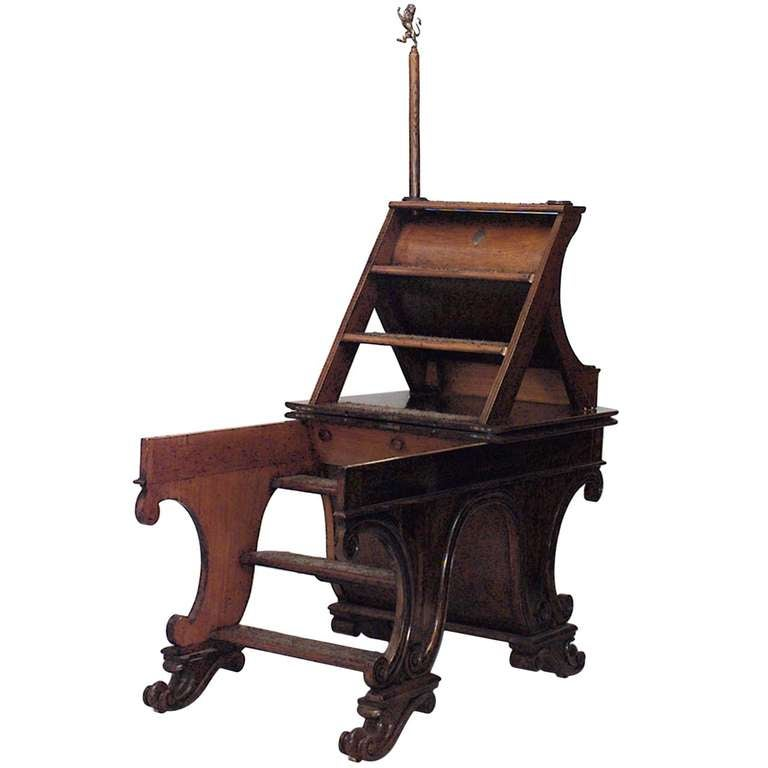 Metamorphic Mahogany Library Table Crafted by J. Rodney 1851