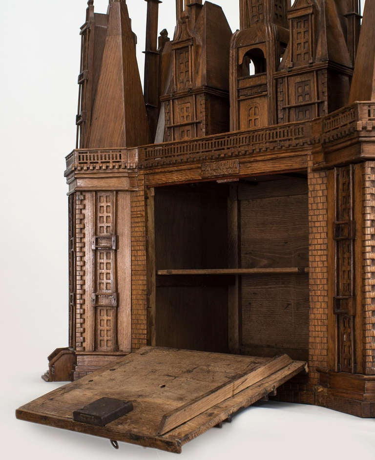 Fantastically carved oak castle cabinet dating to 1915 at for Castle kitchen cabinets