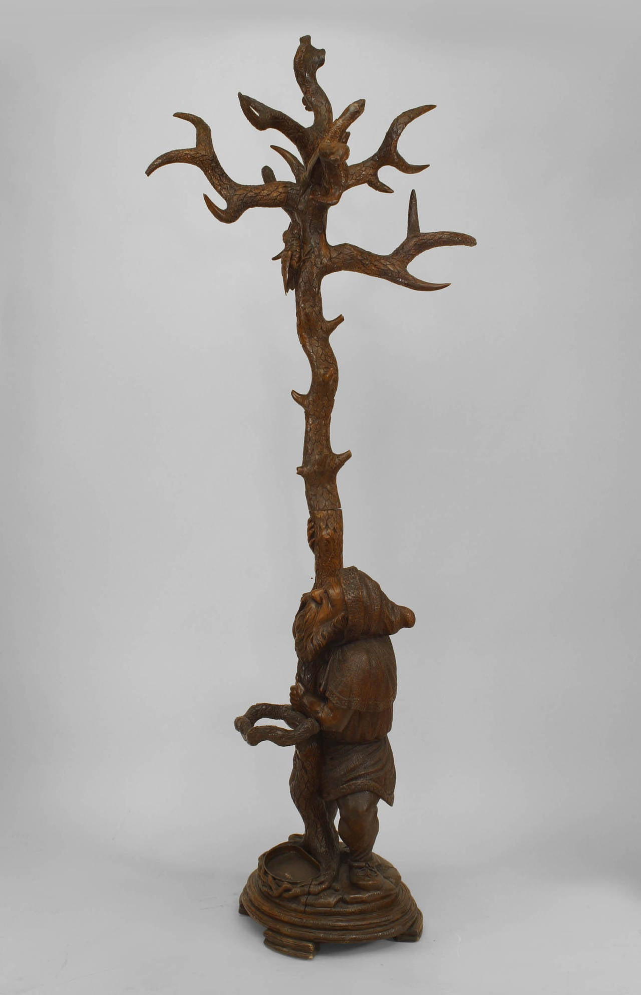 th century black forest carved walnut gnome coat rack and  - th century black forest carved walnut gnome coat rack and umbrella stand