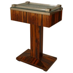 French Art Deco Illuminated Palisander Pedestal End Table