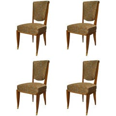Set of Four French Art Deco Upholstered Mahogany Side Chairs by Pascaud