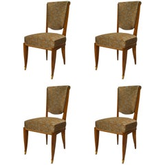 Set of 4 Jean Pascaud French Art Deco Mahogany Side Chairs