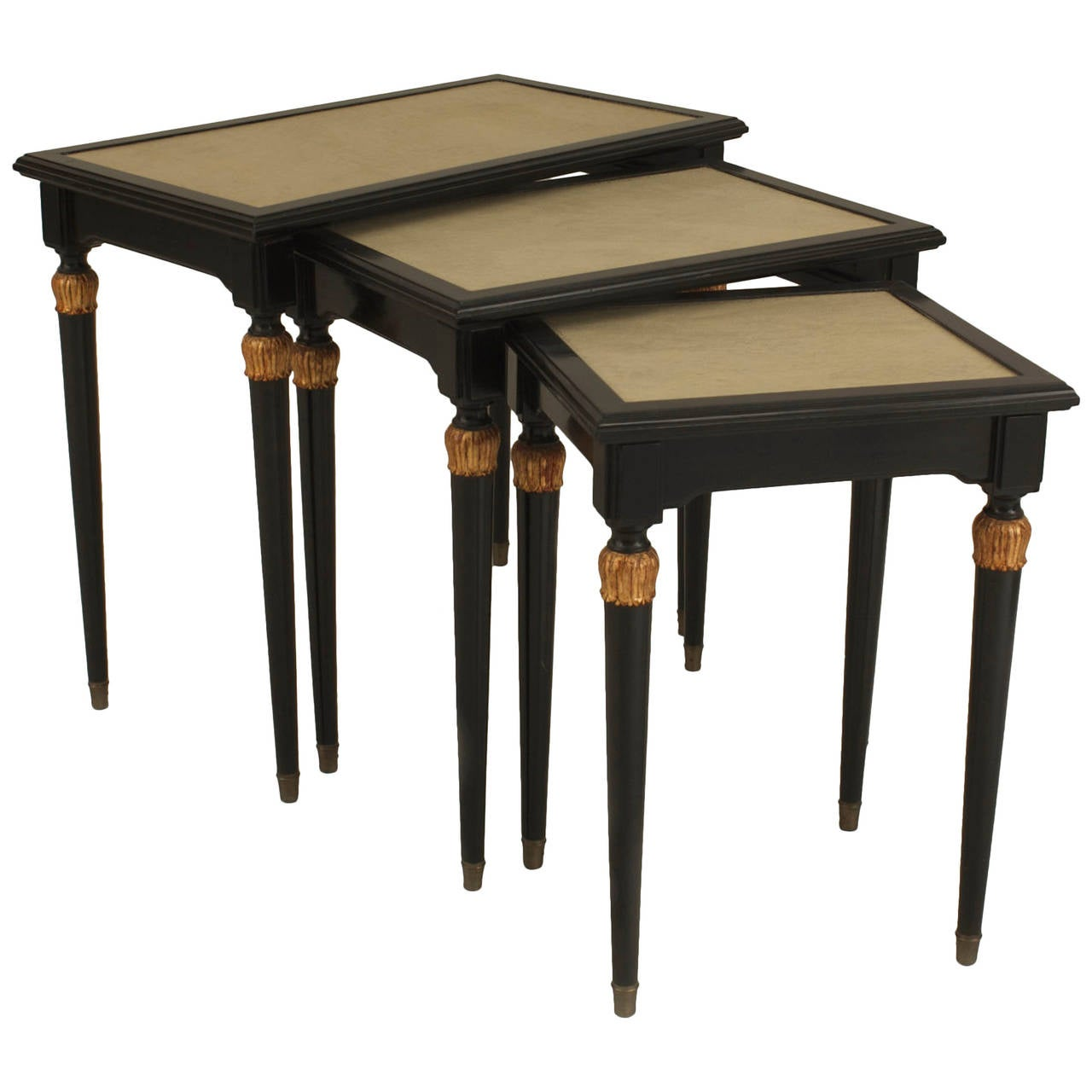 Leather Nesting Tables ~ Set of three french midcentury leather and ebonized