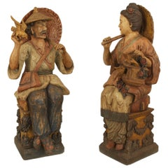 Pair of Chinese Decorated Terra-Cotta Figures