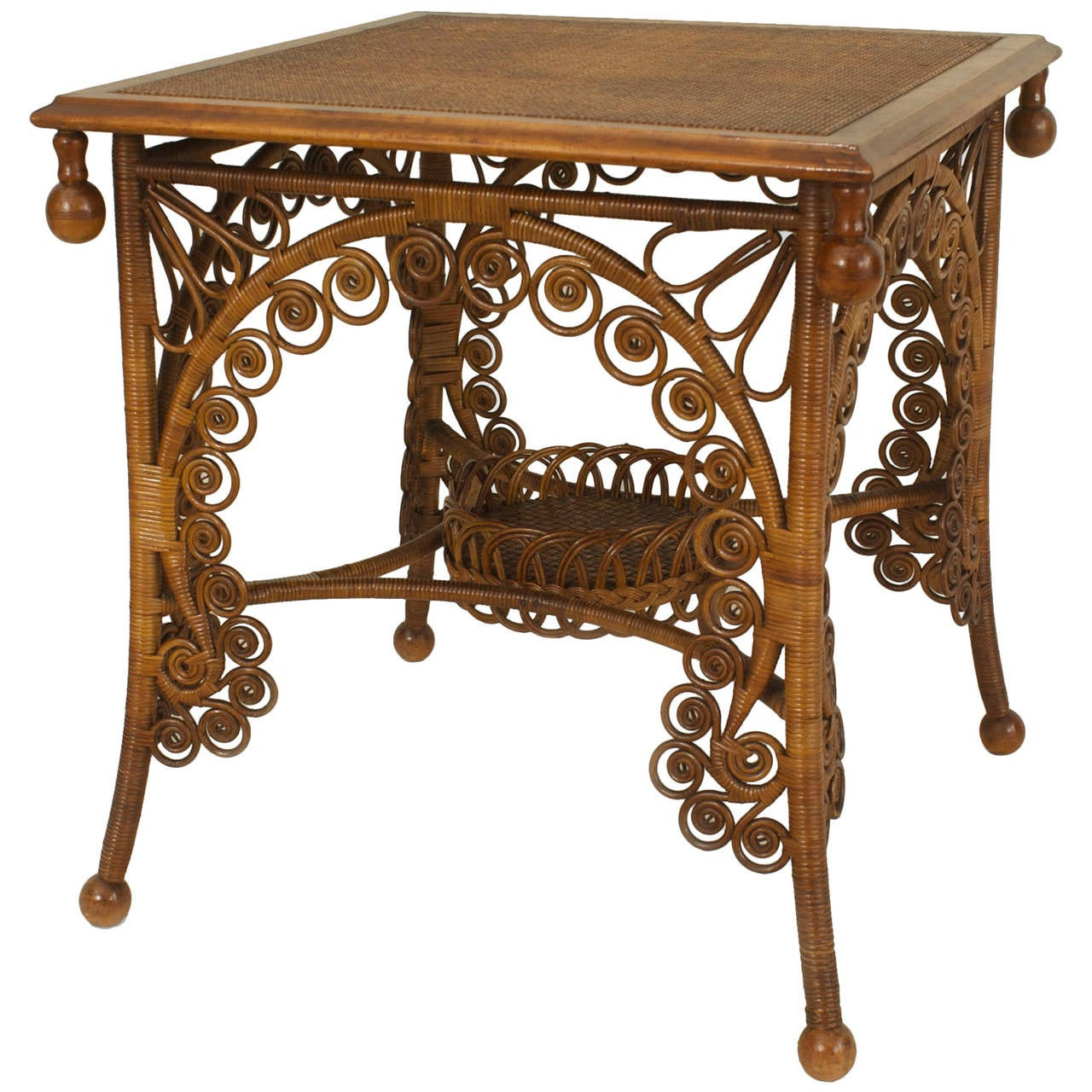 19th century american scrolling natural wicker end table for American rattan furniture manufacturer