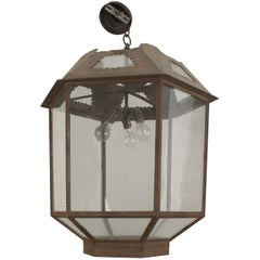 Italian Renaissance Style Six-Sided Iron and Glass Lantern