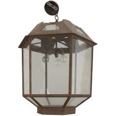 Italian Renaissance Style Glass and Iron Lantern