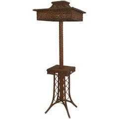 19th Century American Natural Wicker Floor Lamp, by Heywood-Wakefield