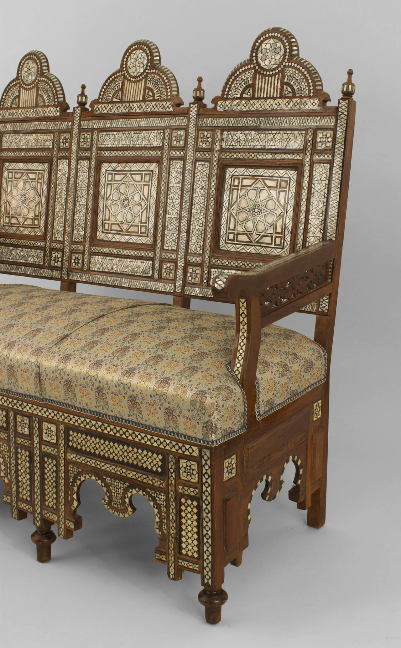 Middle Eastern Pearl Inlaid Walnut Settee For Sale At 1stdibs