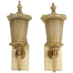 1940s Barovier e Toso Attributed Murano Glass Wall Lanterns
