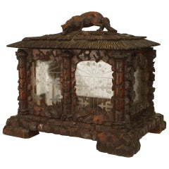 Rustic Black Forest Walnut Display Box with Etched Glass and A Carved Fox