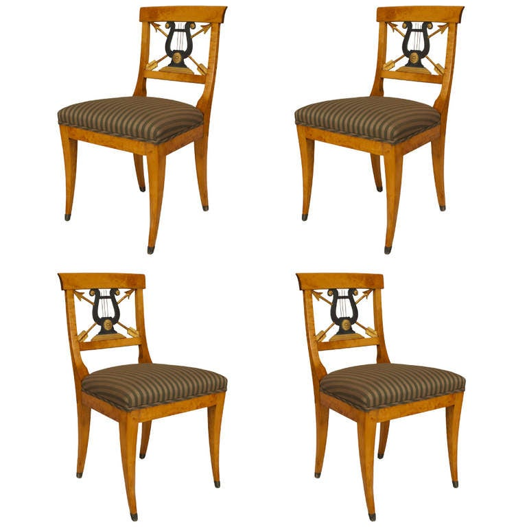 Set of 4 Swedish Biedermeier Side Chairs with Carved Lyre Backs For Sale at 1stdibs