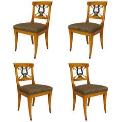 Set of 4 Swedish Biedermeier Side Chairs with Carved Lyre Backs