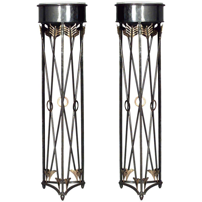 Pairs of 19th c. Steel And Brass Marble-Top Cross Arrow Pedestals