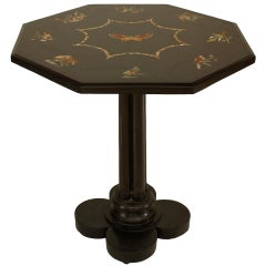 19th c. French Inlaid Black Marble End Table