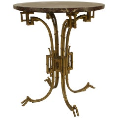 Brass and Marble English Regency Style End Table