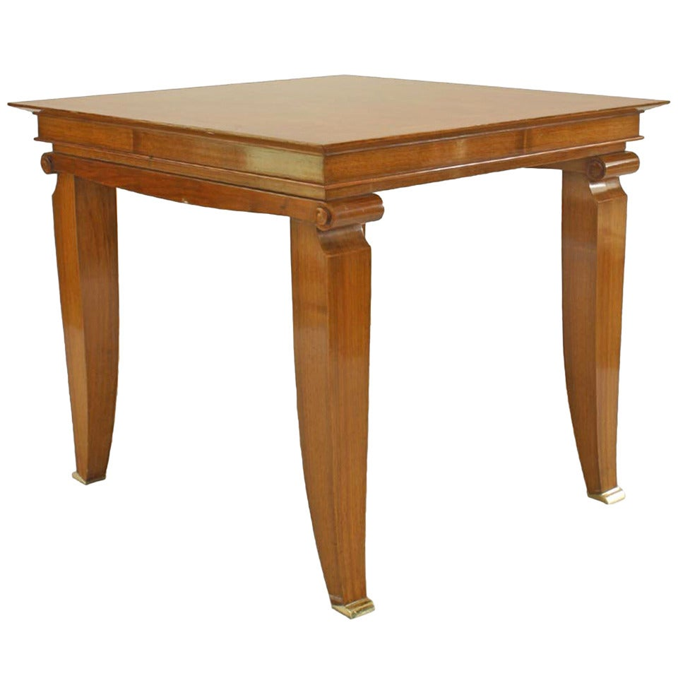 French Mahogany Pascaud Scroll Game Table