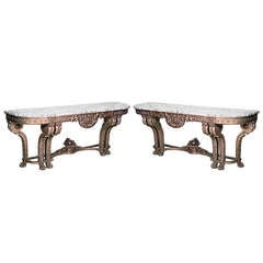 Pair of Louis XVI Style Marble and Gilt Wood Consoles