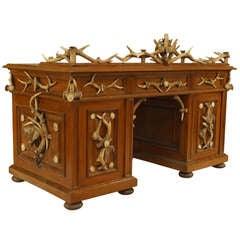 Rustic 19th c. German Oak and Horn Knee Desk