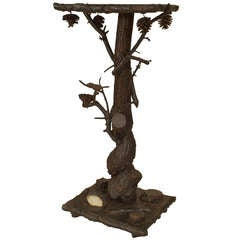 Small Rustic Carved Adirondack Style End Table