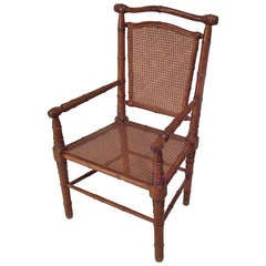 19th c. Caned Maple Faux Bamboo Armchair