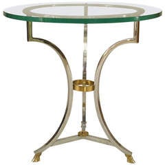 Stylish French Brass and Nickel Plate End Table
