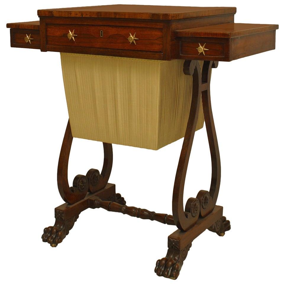 English Regency Rosewood Work Table