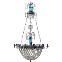 French Blue Opaline Glass and Crystal Chandelier