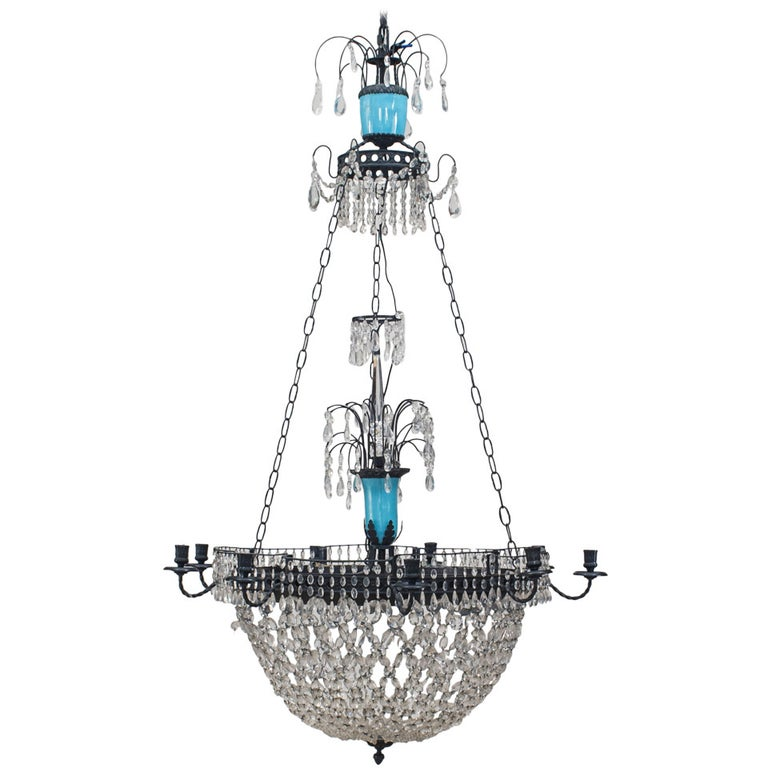 French Blue Opaline Glass and Crystal Chandelier For Sale
