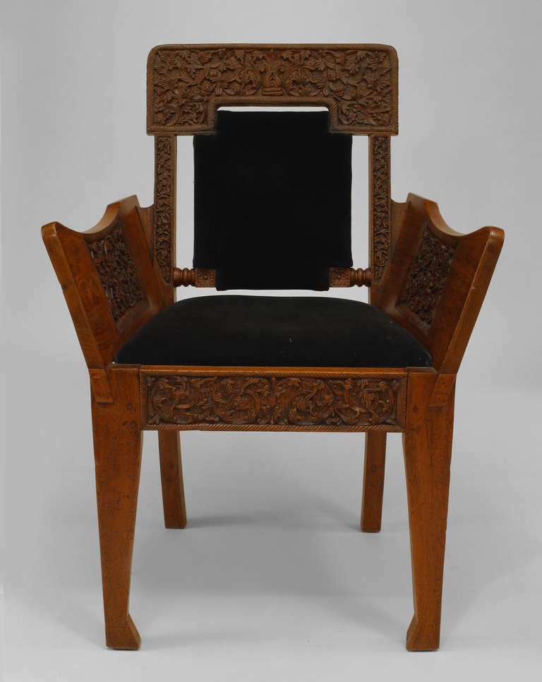 19th c black velvet upholstered burmese club chair for sale at 1stdibs. Black Bedroom Furniture Sets. Home Design Ideas