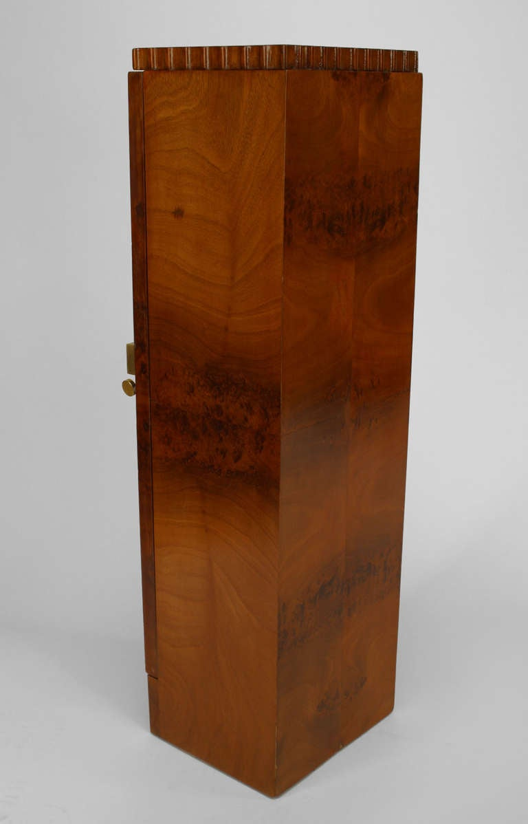 Wood Pair of French Art Deco Pedestal Cabinets Attributed to Roger Bal For Sale