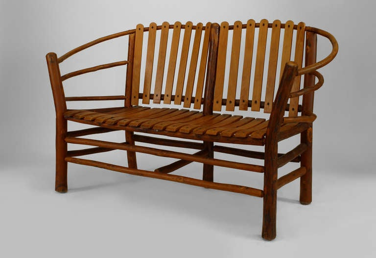 20th C American Rustic Oak Loveseat By Old Hickory Co