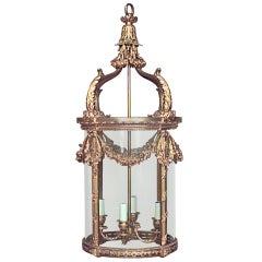 French Louis XVI Style Bronze Dore Hanging Lantern Pendant Lamp
