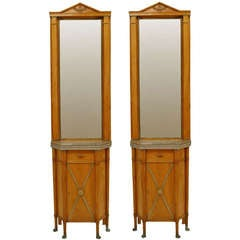 Pair of 19th c. Biedermeier Marble Top Mirrored Commodes