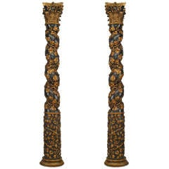 Pair of 18th c. Italian Gold Carved Solomonic Columns