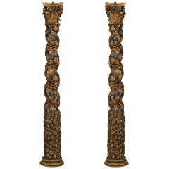 Pair of 18th c. Italian Gold Carved Solomonic Columns